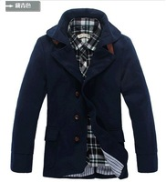 Cheap Shipping 2014 NEW Hot autumn-winter fashion slim long sleeved with hat men's jackets 3 colors 5 sizes