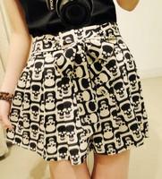 Free Shipping FH-012 2013 Fashion Shorts Women Short Skirt Chiffon Skull Skirts Summer High Waist Skirts Leopard East Knitting