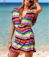 Euro chromatic stripe deep v-neck sexy beach ice silk dress