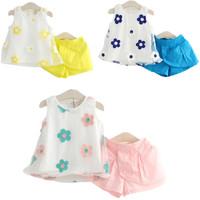 2014 summer new Princess sleeveless suit Girls Cute flower T-shirt + Short Pants Girls Casual Clothing Sets girls sports suits
