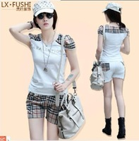 new  korean short sleeve T-shirt shorts suit women's summer fashion leisure sports suit sportswear 467  free shipping