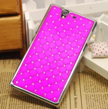1Pcs Optional Accessory Bling Diamond Design Cover Protective Skin Hard Case For SONY XPERIA Z L36H C6603(China (Mainland))
