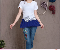 Plus Size Free Shipping 2014 New Summer Women's  Ethnic Cotton Patchwork Chiffon Hem Short Sleeve T-shirts M-XXL.A274