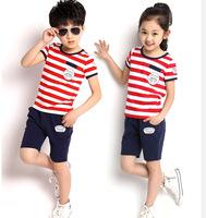 2014 New Summer Children Clothing Set Fashion Boy Kids Striped Short Sleeve T-shirt 100% cotton Short Pant Girl Boy Sport  Set