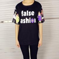 2014 HARAJUKU women's cuff purported short-sleeve T-shirt female summer personal stylish t-shirts