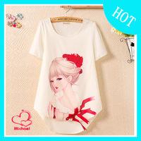 Spring 2014 women's star style print shirt wood female short-sleeve chiffon shirt