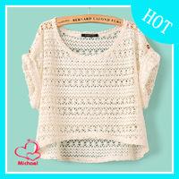 Spring 2014 women's o-neck short-sleeve shirt lace female shirt