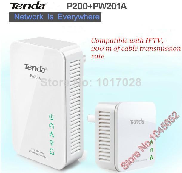 Powerline (One Tenda PW201A + One Tenda P200) Wireless Power line Adapter Extender WIFI hotspot 300Mbps,Ethernet Network Adaptor(China (Mainland))