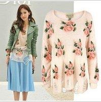 Free Shipping AS-068 Women flower Floral Hole knitting garment sweater tops destroyed brand kintwear East Knitting