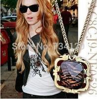 X037 2014 new Cheap jewelry Vintage Style Fashion Square Leopard Pendants Bronze Necklace Necklaces B wholesale charms female