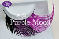 Free shipping! 1pair 6 style Colorful coattail winged synthetic hair hand made Thick Long False Eyelashes 483#, free glue