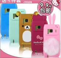 3D cute kitty/rabbit Lovely Cartoon Silicon soft cover back cover Case for nokia n8 case free shipping