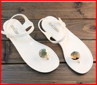 2014 new discount cheap rhinestone flat heel Summer women Sandals comfortable slipper beach white women shoes jelly Flip Flops