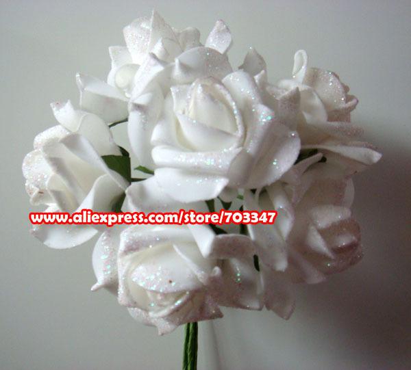2014 Hot Sale!!! (432pcs=72 Bunches/lot) X Artificial Glitter Foam Rose Bunch in White, Hot Pink Wedding * FREE SHIPPING *(China (Mainland))