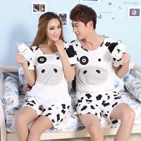 Free shippin gPrincess cartoon cow lovers sleepwear female 100% cotton short-sleeve summer male women's set lounge