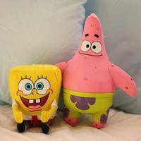 2pcs/lot super cute soft plush yellow Spongebob with pink Patrick star toys dolls, birthday & graduation gift for children