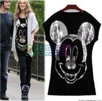 East Knitting Women summer tshirt Fashion tops 2013 shirt for women Spike Mickey Mouse t-shirt  Short Sleeve AS-021