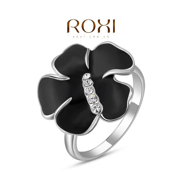ROXI Flower women ring Black and white cross ring Fashion ring for women Flower style Crystal Christmas Gift Free Shipping(China (Mainland))