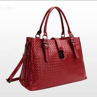 2014 Famous Luxury Brand Fashion Women Genuine Leather Bags, Women Woven Pattern Handbag Messenger Bags Totes Shoulder Bag