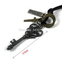 Fashion Leather crown key pendants necklaces,men jewelry,handmade jewelry
