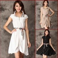 2014 Spring New Women's Elegant Plaid Stand Collar OL Dress China Branded Winter Dress LCW1405