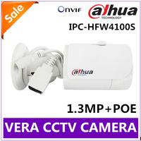 Free shipping Dahua IPC-HFW4100S IR HD 720P IP Cameras Security Outdoor 1.3 Megapixel HD Web Camera Support POE