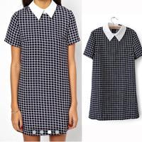 New 2014 Summer Women Tartan Design European Style Casual Dress Fashion Turn-Down Collar Cad1022