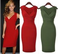 Free Shipping 2014 New Fashion Summer Women Elegant Knee Length Celebrity Bandage Bodycon Sexy Casual Evening Dresses Plus Size