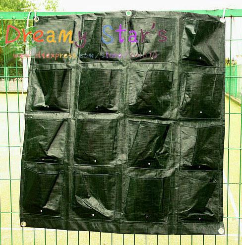 16 Bolsos Horta Flor de plástico Vasos Muralha Verde montado montagem Pendurado saco Planter Vertical(China (Mainland))