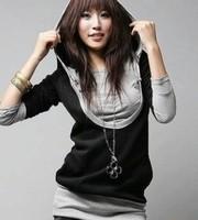M-XXXL tracksuit for women New 2014 Casual Cotton Long sleeve Fake Two-Piece Knitting Hoodies Plus Size Sweatshirt J0033