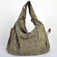 Fashion canvas totes women's large shoulder bag cowhide leather