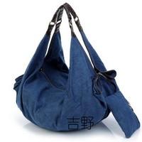 High quality fashion women's handbag Dumpling shape denim shoulder bag weaving PU leather strap large capacity soft casual bag