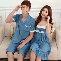Free shipping Summer short-sleeve capris lovers sleepwear female 100% cotton silk set lounge