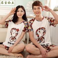 Free shipping Princess pure cotton summer cartoon mr mirow lovers sleepwear male women's set lounge