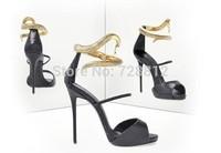 New Brand heels snake ankle wrap high heel sandals dress shoe girl criss cross python pumps 35-41