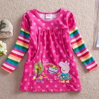 2014 Top Fashion Peppa Pig Baby Girls Sleeves Tops Embroidery Autumn Cotton T Shirts Blusa Infantil Moletom Camiseta Manga Longa