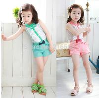 New Children Summer Lace Girls' Cotton Set T-shirt And Shorts Pants 2 Colors Baby Girl's 2 Piece leisure Vest Suit