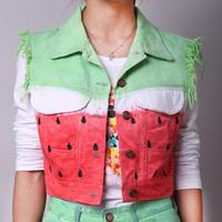 Watermelon personalized vest women's new arrival  tie-dyeing denim vest female fashion denim short jacket