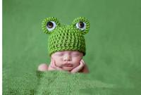 Hot sold Spring Autumn  frog design lovely children kid Baby Infant knit hat Baby Photo Props Baby Kids Girl hat Gift