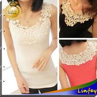 Wholosale New Women's Blouses Shirt Summer Lace Tank Top Shirts Sleeveless Fashion Blouse Cotton Hollow-Out Crochet Women Shirt