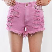 Women denim shorts female high waist rivet hole jeans shorts