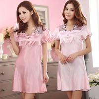 Free shipping wholesale Summer quality elegant soft women's short-sleeve silk nightgown sleepwear lounge