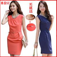 2014 fashion professional women  clothing slim women's elegant chiffon one-piece dress work wear slim hip plus size with belt