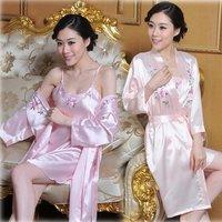 Free shipping summer wrist-length sleeve robe embroidered sleepwear twinset robe silk