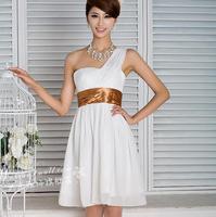 one shoulder chiffon 2014 married sleeveless evening dress party dresses short design