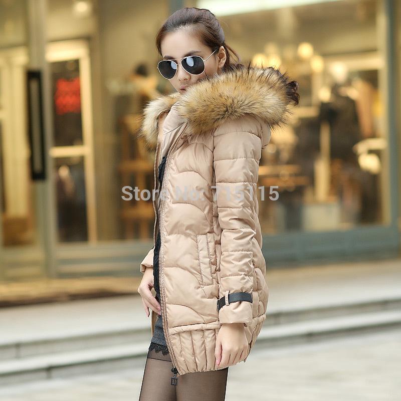 Ms. Down coat 2014 new winter jacket women Long paragraph Korean version of Slim fur hood solid color thick down jacket CS51603(China (Mainland))