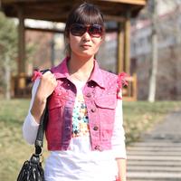 2014 spring and summer women's top rivet denim vest short denim jacket fashion female vest