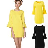 M-3XL famous brand Ulyana new 2014 fashion elastic loose plus size women summer dress casual dresses vintage clothes black