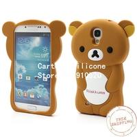 Free shipping +Rilakkuma Bear Silicone Gel Case for Samsung Galaxy S4 IV S4g i9500 i9502 i9505 -Brown