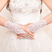 2014 new Short design handmade diamond flower gloves wedding gloves luxury series